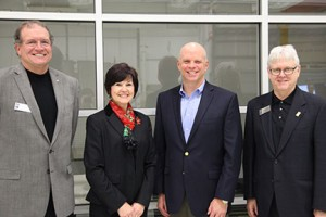 From left, Board of Trustees chairman Doug Bishop, outgoing trustees Susan K. Sheldon and Bill Myers and NMC President Tim Nelson at Sheldon and Myers' final meeting.