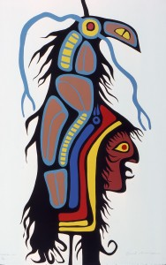 NORVAL MORRISSEAU Thunderbird Man Serigraph90/99 Collection of the Dennos Museum Center