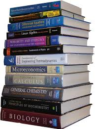 Photo of a stack of textbooks