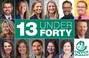 Success story graphic showing 40 under 40 winners who've attended NMC