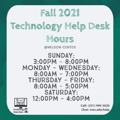 NMC Technology Help Desk fall hours